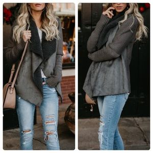 Sweaters - 🆕 Suede and Sherpa Draped Open Cardigan